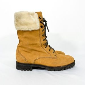 COLE HAAN Faux Fur High Ankle Leather Lace Up Boot